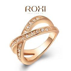 Latest Style Austrian Crystal Rose Gold Wedding Rings For Women Love Engagement Ring Girl Fashion Jewelry Crystal Engagement Rings, Engagement Ring Sizes, Engagement Jewelry, Wedding Jewelry, Gold Wedding, Wedding Engagement, Rhinestone Wedding, Wedding Bride, Gold Rhinestone
