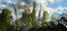 Temple ruins high amongst the clouds | by unknown ~ { concept art }
