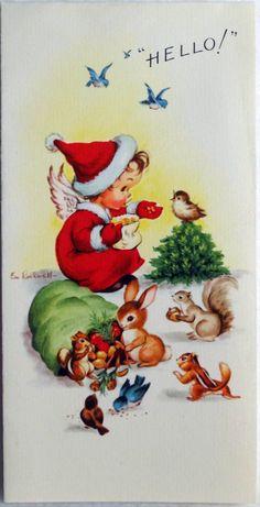 382 50s Eve Rockwell Santa Angel Critters Vintage Christmas Greeting Card   eBay
