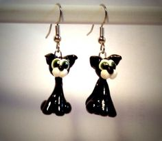 Ohrringe Katze Tier schwarz Sculpey Edelstahl Ohrschmuck Modeschmuck Ohrhänger