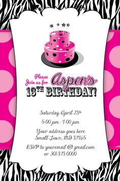 Zebra Print Cake Invitation 13th Birthday Party Baby Shower 16th 1st Invitations