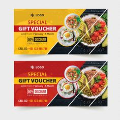 Buy Food-Restaurant Gift Voucher Template by Design_Stocks on GraphicRiver. Food-Restaurant Gift Voucher Template with Super Modern and Corporate look. This Gift Voucher Card is best suitable f. Food Menu Design, Food Poster Design, Creative Poster Design, Banner Design Inspiration, Web Banner Design, Web Design, Food Vouchers, Gift Vouchers, Gift Certificate Template