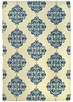 CHELSEA IVORY AND BLUE HOOKED WOOL RUG