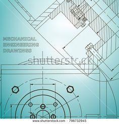 Mechanics. Technical design. Cover, flyer, banner. Corporate Identity. Light blue  #bubushonok #art #bubushonokart #design #vector #shutterstock #technical #engineering #drawing #blueprint  #technology #mechanism #draw #industry #construction #cad