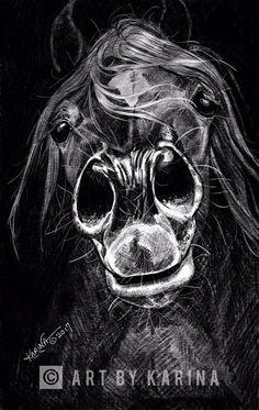 Sweet Hay Breath by Karina Peacemaker, Arabian horse art.