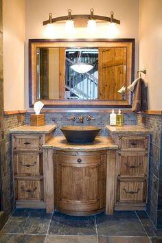 50 Amazing Farmhouse Bathroom Vanity Decor Ideas 33 – Home Design Rustic Bathroom Lighting, Bathroom Vanity Decor, Rustic Bathroom Designs, Rustic Bathroom Vanities, Modern Farmhouse Bathroom, Bathroom Ideas, Rustic Farmhouse, Master Bathroom, Bathroom Wall