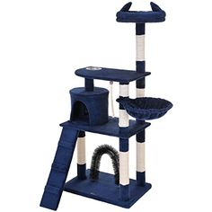 Ollieroo Cat Tree with Scratching Posts Scratcher Play House Condo Furniture Bed Post Pet House (Navy Blue) * Details can be found by clicking on the sponsored image. Tree Furniture, Condo Furniture, Cat Tree Condo, Cat Condo, Tree Hut, Bed With Posts, Cat Towers, Sisal Rope, Scratching Post