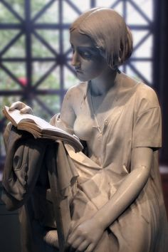 sculpture Young Girl Reader Immortalized by Pietro Magni