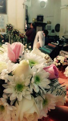 Wedding decor in the church  Flower arrangements  Rose arrangement  Pink and white flower decor  Peon decor