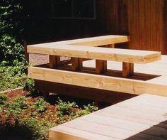 Deck Bench Design Ideas, Pictures, Remodel, and Decor - page 2 Backyard Bar, Backyard Patio Designs, Landscaping Around Deck, Backyard Landscaping, Deck Ideas For Bungalows, Deck Design, Garden Design, Deck Bench Seating, House Outside Design