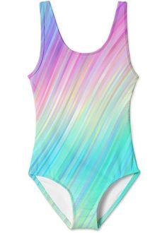 Tie Dye inspired print swimsuit for girls in easy to wear style. Hot Pink Swimsuit, Girls Bathing Suits, Cute Swimsuits, Beachwear, Swimwear, Tank Girl, Tie Dye, One Piece, How To Wear