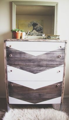Painted chest of drawers dresser with wood stain and painted chevron design; trendy vintage home decor look. upcycle, recycle, salvage, diy, repurpose! For ideas and goods shop at Estate ReSale & ReDesign, Bonita Springs, FL