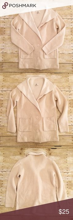 Cream Ya Los Angeles sweater coat, one size Excellent condition Ya Los Angeles sweater like coat, one size. Feels almost like wool, but made of cotton and acrylic. No wear that I see. Nice and thick for those really cold days! Perfect for every day wear, or a night out. Total length- approximately 25.5 inches, bust- approximately 18 1/4 inches, sleeve length- approximately 23 1/4 inches. Ya Los Angeles Jackets & Coats