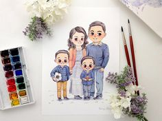 Your place to buy and sell all things handmade Family Illustration, Watercolor Illustration, Watercolor Paintings, Mother And Child Painting, Family Drawing, Sketch Inspiration, Illustrations, Cute Drawings, Wedding Portraits