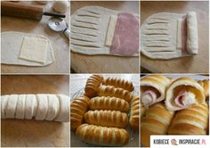 DIY Baked Buns Filled With Ham And Cheese - Find Fun Art Projects to Do at Home and Arts and Crafts Ideas neat idea for finger food appetizers Ham Cheese Rolls, Ham And Cheese, Ham Rolls, Cheese Recipes, Bread Recipes, Cooking Recipes, Think Food, Love Food, Bread Shaping
