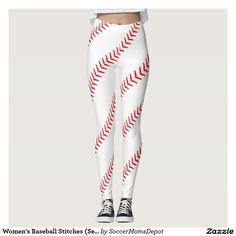 Women's Baseball Stitches (Seams) White Leggings #baseball #leggings #baseballoutfit #baseballleggings #baseballmom #baseballgirl