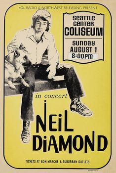 Room Posters, Band Posters, Music Posters, Vintage Concert Posters, Vintage Posters, Creative Photos, Cool Photos, Neil Diamond, Best Rock