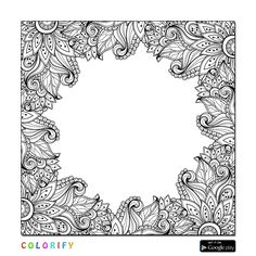 Border Floral Adult Colouring in
