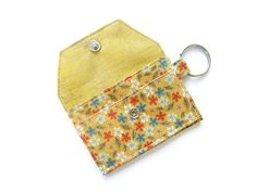 Mini key chain wallet/ simple ID Key chain pouch/ Business card holder/ keychain coin purse / custard floral pattern