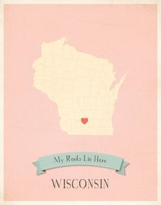 Wisconsin Roots Map 11x14 Customized Print by MyRoots on Etsy, $40.00