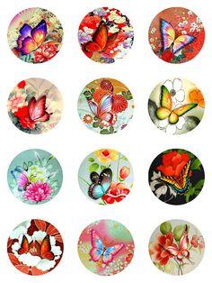 Butterflies Asian Florals Collage Sheet Digital Images 2 inch