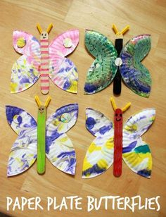 A Marbled Paper Plate Butterfly Craft                                                                                                                                                                                 More