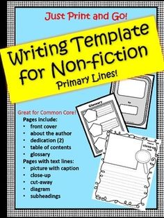 non fiction writing template for any topic text features focus