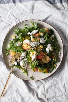 Sweet Corn, Peach, and Cherry Salad with Creamy Goat Cheese and a Lime Dressing | Flourishing Foodie