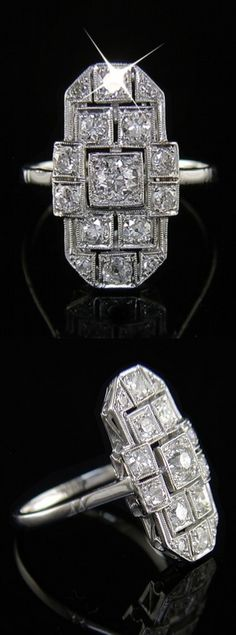 Art Deco Diamond Ring c1920 A bold Art Deco era diamond ring set with 15 vintage cut diamonds totalling approximately 1.10 carats. The strongly geometric design is typical of this period, each of the diamonds being set in its own box setting. Metal tests as 18k white gold and platinum. An eye catching vintage diamond original designed and made around the year 1920.