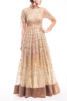 Rose Gold-Light Beige Ombre Anarkali - waliajoness - 1