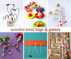 Wooden bead toys & games Girl Scout Swap, Girl Scout Leader, Pipe Cleaner Crafts, Pipe Cleaners, Diy Toys And Games, Girl Scout Crafts, Brownie Girl Scouts, Motor Activities, Crafts For Girls