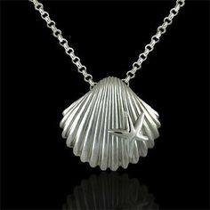 Designer Seashell with Star Sterling Silver Pendant $149 #orospot #pendant #necklace #silver #seashell #jewelry