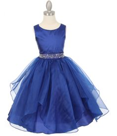 Dazzling big stones on the waist of this Tween Dress! Royal Blue party dress with organza overlay is a T length dress perfect for that special party, Junior Bridesmaids, Teenage Parties or Senior Flower Girls.