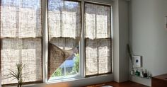 The Shingled House: How to sew burlap window panels.