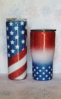 Red white blue - Cup ideas - The Dallas Media Vinyl Tumblers, Custom Tumblers, Tumblr Cup, Mom Tumbler, Glitter Cups, Glitter Tumblers, Blue Cups, Custom Cups, Tumbler Designs