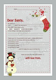 Printable Dear Santa Letter Kids Christmas Christmas Is One Week