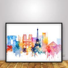 Paris print, Watercolor Poster, Paris skyline, City print, Travel, wall decor…