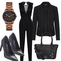 Tolles Businessoutfit aus einem schwarzen Overall, einer schwarzen Jacke und schwarzen Pumps mit Nieten... #mode #damenmode #frauenmode #outfit #damenoutfit #frauenoutfit #trend #sommertrend #trend2018 #modetrend #modeinspiration #inspiration #kleidung #fashionista