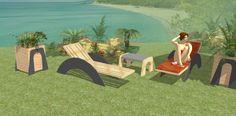 """Línea """"LIGHT"""". Panorámica. Tumbonas, mesita auxiliar y jardineras. Propuesta realizada en hotel de Ibiza."""
