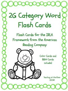 I've made NEW AND IMPROVED flashcards but I'm leaving the same great low price! These cards are for the 1G level of the IRLA framework from the American Reading Co. This comes with a green set of cards for easy color coding by level as well as a black and white set for a nice crisp dark print while saving color ink.