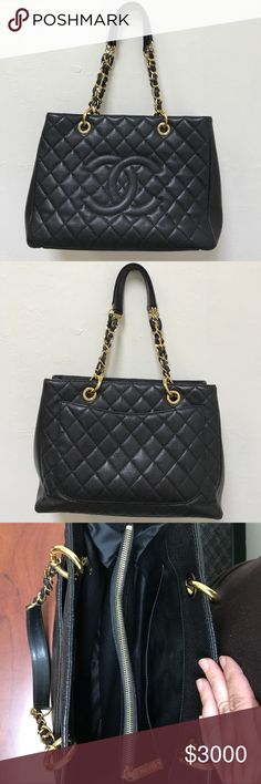 """Chanel GST Black Tote Bag Authentic Chanel Grand Shopping Tote. EUC. Black Caviar Leather with gold hardware. Measures 13""""L x 9"""" H x 5"""" W . Handles: 10"""" drop. Textured durable leather and stitching are in great shape, no scratches or pulls! Bag flaws:(ALL shown in pics) 1)minor fabric pull by one of the top chains. 2)where handle attaches to bag- 2 of the 4 gold holes have chipped spots. 3)Corners at bottom show some wear. SEE SEPARATE LISTING FOR ADDITIONAL PICS & DESCRIPTION OF INSIDE OF…"""