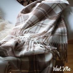 Alpaca Wool Throw Cream Brown Squares Angela