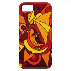 Fantastic Dragon and Fire Abstract Art Design iPhone 5 Covers #dragons #art #iphone5 #case #zazzle #petspower