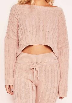 7e5edc4727 Rene Pink Cable Knit Cropped Loungewear Set Missy Empire Loungewear Set