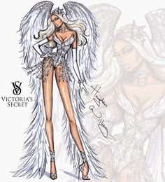 #Hayden Williams Fashion Illustrations #Victoria's Secret 2014 collection by Hayden Williams 'Winter White Angel'