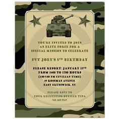 Camouflage Military Army Birthday Party Invitations - Set of 20