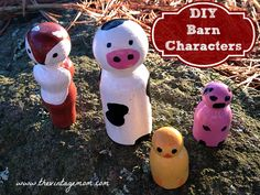 The perfect DIY gift for children - Barn Figures With Wooden Pegs. They are easy to make and you'll have a blast painting and creating them!