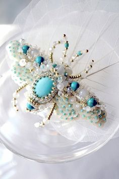 Beetle brooch White Turquoise Insect jewelry от PurePearlBoutique