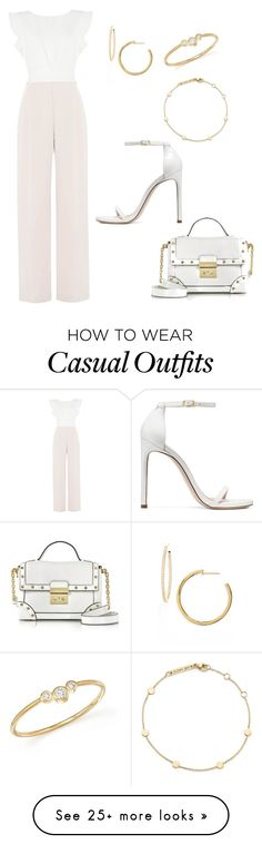 """""""White & beige jumpsuit - Casual"""" by brittjade on Polyvore featuring Phase Eight, Stuart Weitzman, Zoë Chicco, Nordstrom and Michael Kors"""