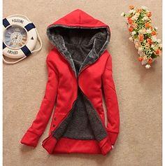 Women's Casual Fleece Lining Zipper Thicken Hoodie Sweatshirt Coat - BRL R$ 95,73